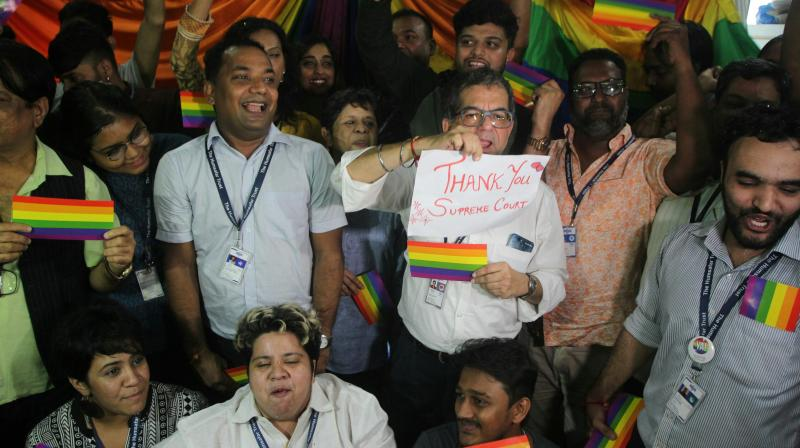 A five-judge bench headed by Chief Justice of India Dipak Misra on Thursday reversed its own 2013 decision and said homosexuality is no longer an offence. (Photo: Asian Age)