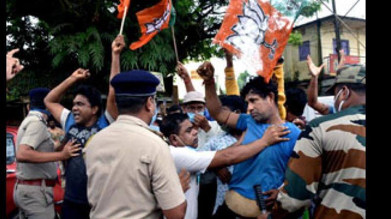 BJP workers also allegedly hit Banerjee's car with the batons of their party flag but there was no damage to the vehicle. —  PTI