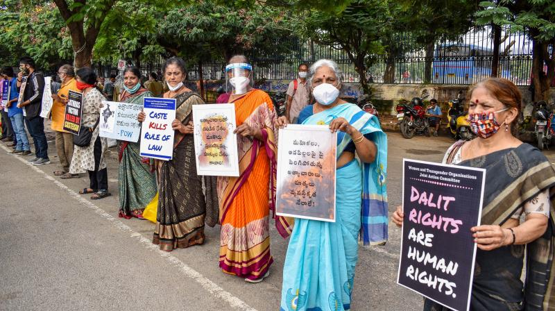 Hyderabad: Members of All Progressive Women Organization during a silent protest over women abuse, at Indira Park in Hyderabad, Saturday, Oct. 10, 2020. (PTI Photo)