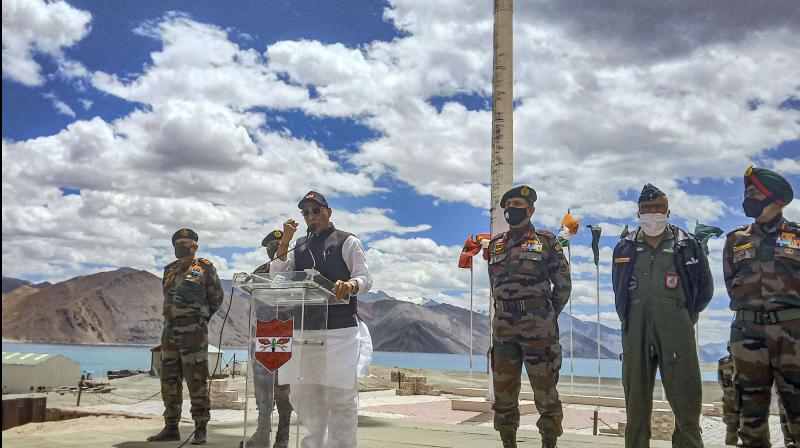 Defence Minister Rajnath Singh addresses Indian Army soldiers, at Lukung post in Ladakh