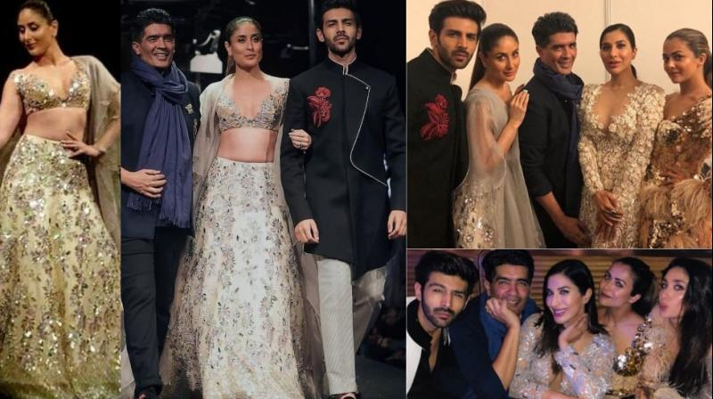 Kareena Kapoor Khan and Kartik Aaryan were the showstoppers for Manish Malhotra's summer couture collection in Singapore on Sunday. (Photo: Twitter/ Instagram)