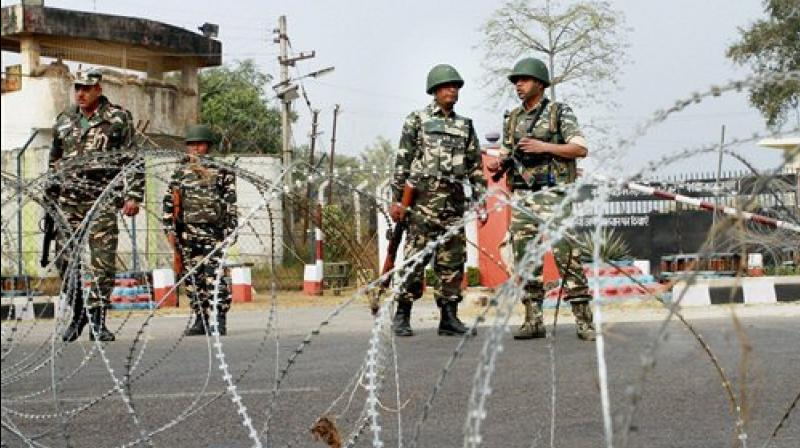 Army personnel stand guard at 16 Corps headquarters at Nagrota Army camp in Jammu. (PTI)