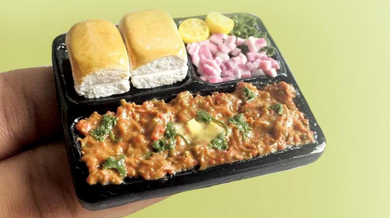 The butter that's on top of the pav bhaji miniature was challenging. It was very tough to get that colour right.