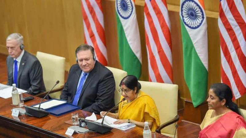 External Affairs Minister Sushma Swaraj, Defence Minister Nirmala Sitharaman, US Secretary of State Mike Pompeo and US Secretary of Defense James Mattis at the joint press conference after the India-US 2+2 Dialogue, in New Delhi. (Photo: PTI)