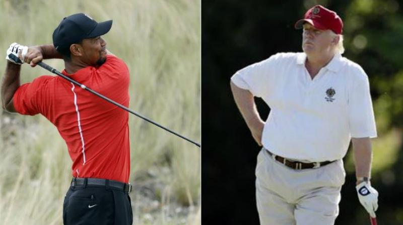 Tiger Woods, who played golf three years ago with Barack Obama, played 18 holes on Friday with Donald Trump. (Photo: AP)