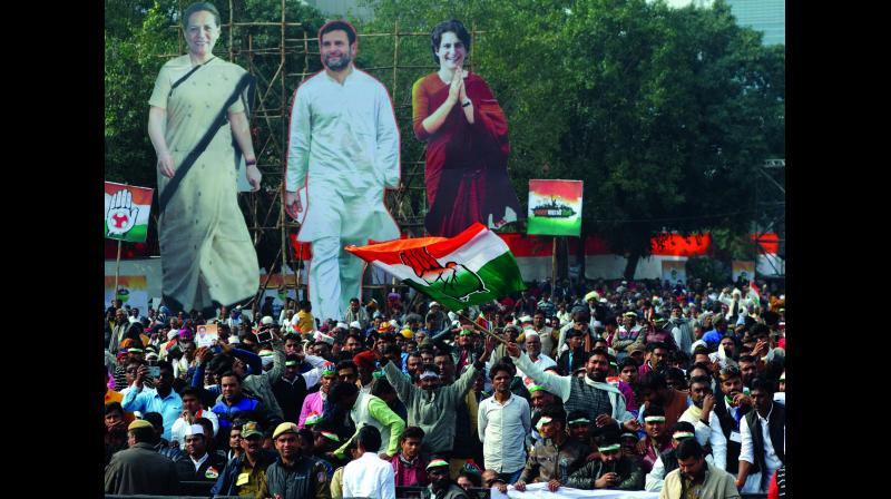 Huge cut-outs of Congress president Sonia Gandhi, Rahul Gandhi and Priyanka Vadra are seen at the venue of the party's Bharat Bachao rally at Ramlila Maidan in New Delhi on Saturday. (Photo: Biplab Banerjee)