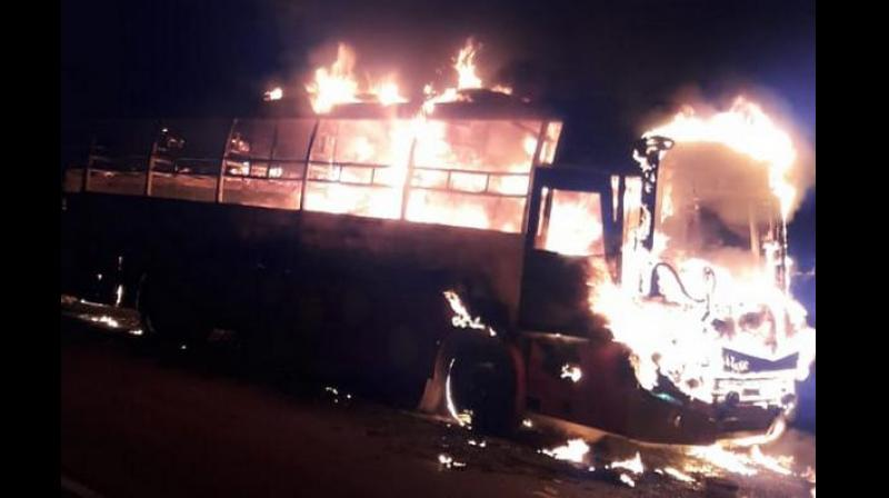The bus was headed from Hyderabad to Bangalore and was engulfed in fire and reduced to ashes near Enugumarri village of Kurnool district in Andhra Pradesh. (Photo: ANI)