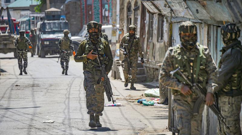 Two militants of the Hizbul Mujahideen, for all practical purposes the only home-grown armed extremist outfit in the valley, who had engaged the security forces were brought down and five jawans injured. AFP photo
