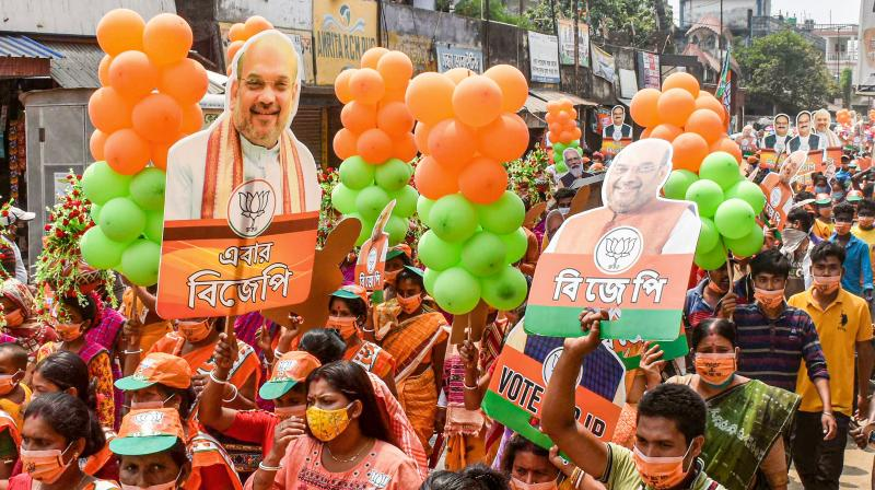 BJP supporters from Gazole constituency during an election campaign for West Bengal Assembly Polls in Malda district, Thursday, April 22, 2021. (PTI)