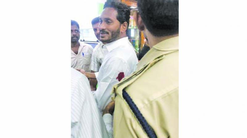 YSR Congress Party Chief Jagan Mohan Reddy after he was stabbed at Visakhapatnam Airport. (Photo: Asian Age)