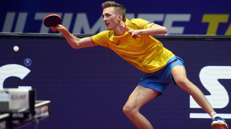Falcons TTC player Liam Pitchford in action during CEAT Ultimate Table Tennis finals against Shaze Challengers player Andrej Gacina in Mumbai. (Photo: AP)