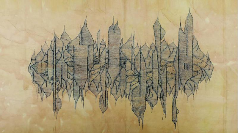 Colonies; pen and ink on Washi paper, stained with pomegranate skin and tea extracts. — TARQ