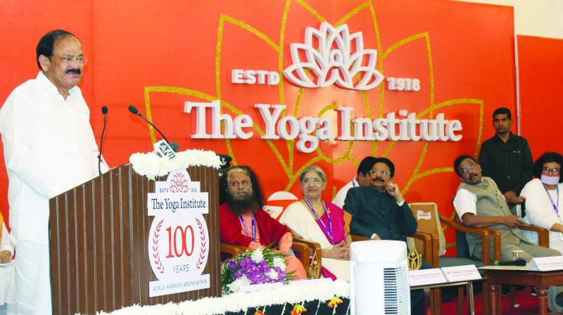 Venkaiah Naidu attended the inaugural ceremony of the centenary celebrations of the Yoga Institute in Mumbai.