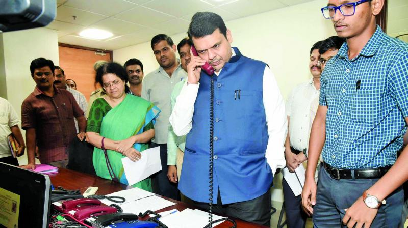 Chief minister Devendra Fadnavis at the Mantralaya control room.