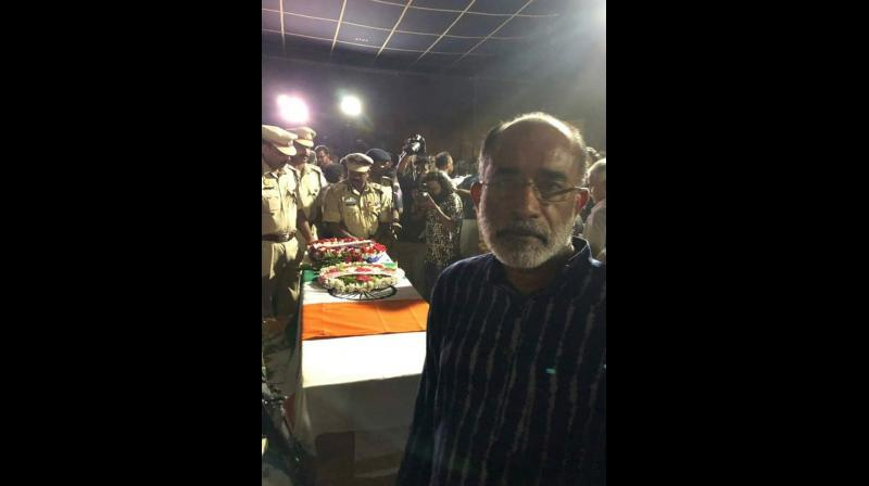 Union Minister said that he was attending the last rites of Vasantha Kumar at Wynad on February 16. (Photo: Twitter | @_shriraj)
