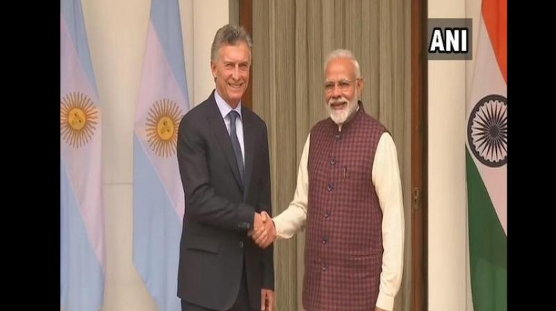 Macri's visit coincides with both the nations marking 70 years of the establishment of diplomatic relations between New Delhi and Buenos Aires. (Photo: ANI)