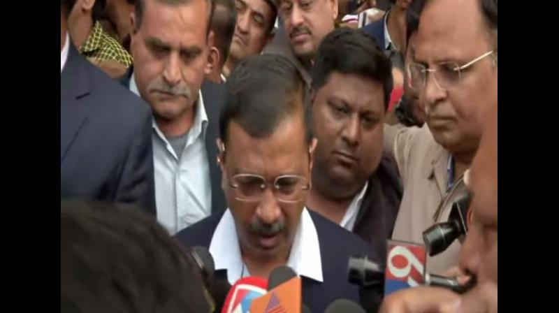 'The Anaj Mandi fire tragedy is a very sad incident. More than 40 people have died. I have ordered a magisterial inquiry into it. Compensation of Rs 10 lakh each will be given to families of those dead and Rs 1 lakh each to those injured. The expense of medical treatment of those injured will be borne by the government,' Kejriwal said. (Photo: ANI)