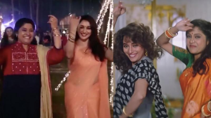 Screengrabs from Madhuri Dixit Nene's Instagram video vis-a-vis her song 'Lo Chali Main' with Renuka Shahane from 'Hum Aapke Hai Koun.'