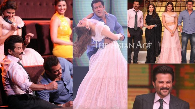 The team of 'Race 3' provided a grand launch to the reality show 'Dance Deewane' by shooting for an episode in which Madhuri Dixit Nene is one of the judges. (Photo: Viral Bhayani)