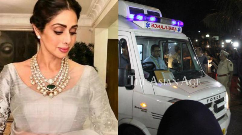 Sridevi's mortal remains arrive in an ambulance at the Kapoor residence on Tuesday.