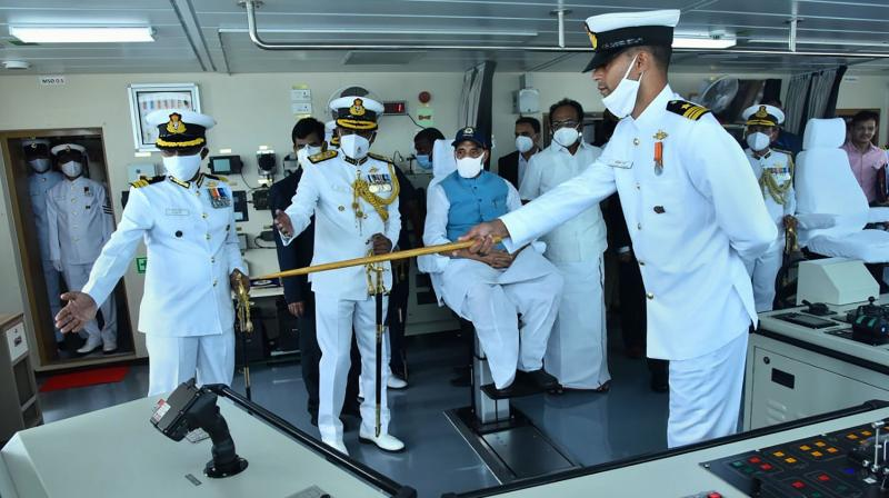 Defence Minister Rajnath Singh at the Commissioning Ceremony of India Coast Guard Ship 'Vigraha' in Chennai. (PTI Photo)
