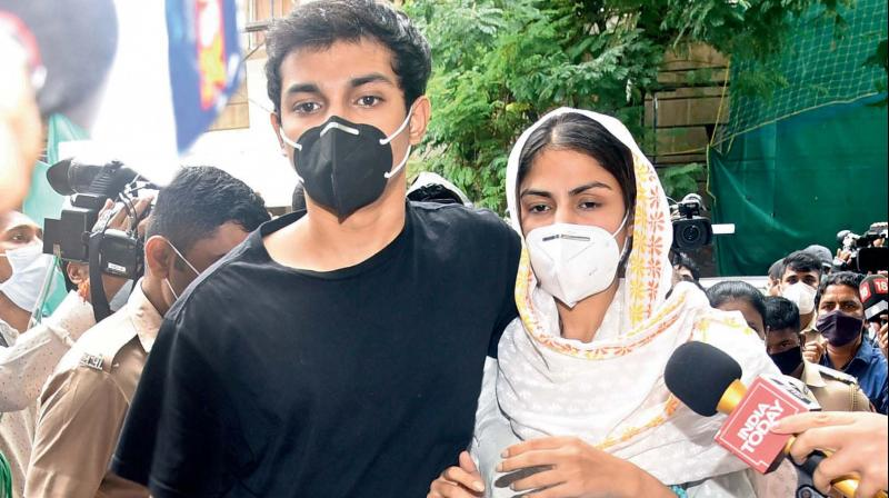 Bollywood actress Rhea Chakraborty and her brother Showik. NCB team reaches Rhea's home to serve summons for joining probe. (PTI Photo)