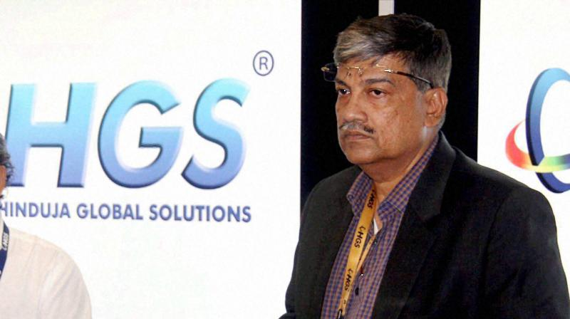 Hinduja Global Solutions CEO Partha De Sarkar addressing a press conference about the company's business initiatives and growth strategy in Bengaluru. (PTI Photo)