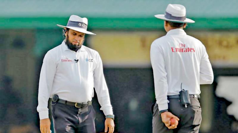 ICC Emirates Elite panel umpire from Pakistan, Aleem Dar (L). AP Photo