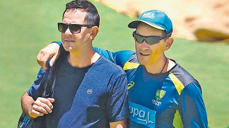 Australia chief coach Justin Langer (R) with his assistant Ricky Ponting. DC File Photo