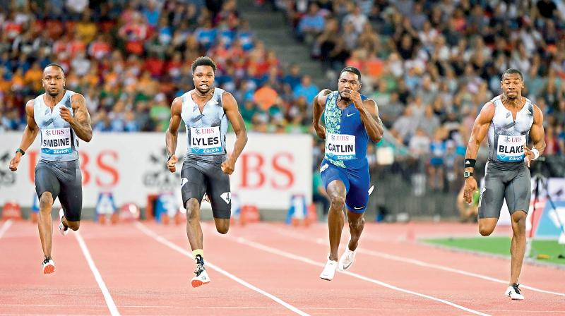 Noah Lyles of the United States (2nd L) wins the men's 100m at the IAAF Diamond League in Zurich last year. AFP Photo