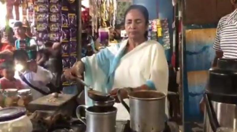 In another video shared by her, Banerjee can be seen interacting with locals in the area. (Photo: ANI twitter)