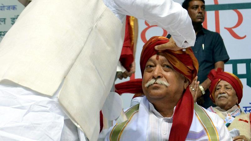 RSS chief Mohan Bhagwat during the Mahavir Jayanti mahotsav function in New Delhi. (Photo: PTI)