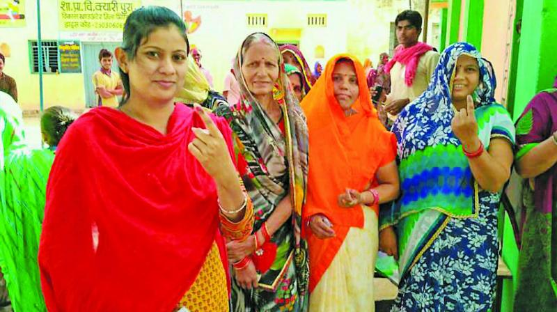 Voters after casting vote for the Ater Assembly bypoll in Madhya Pradesh. (Photo: PTI)