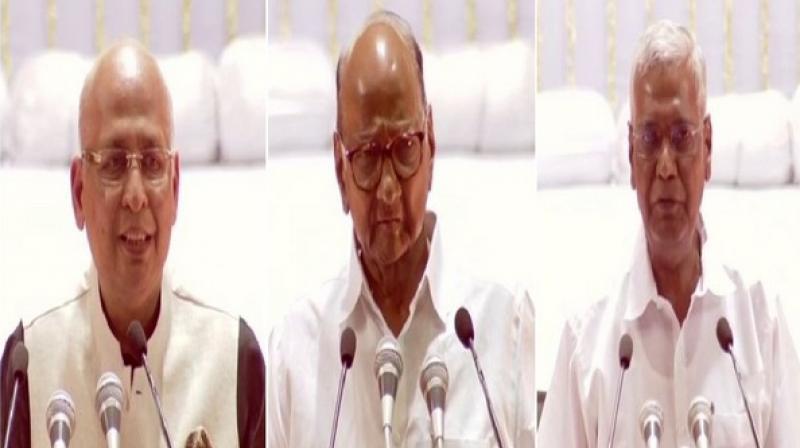 Other leaders who spoke included Lok Jan Shakti Party President and Union Minister Ram Vilast Paswan, Akali Dal leader Sukhbir Badal, BJD leader Pinaki Mishra, DMK leader Tiruchi Siva and AIADMK leader Navaneethakrishnan. (Photo: ANI)