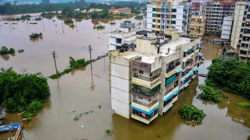 Flooded locality at Badlapur after heavy rains, Mumbai, Thursday, July 22, 2021. (PTI)