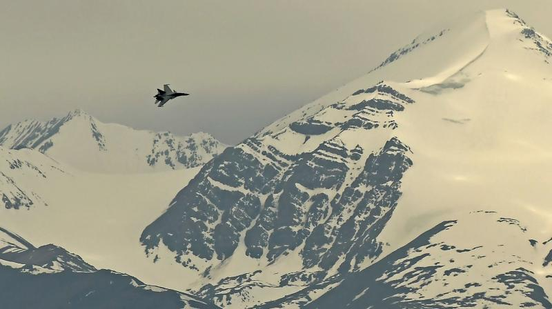 An Indian fighter jet flies over Leh, the joint capital of the union territory of Ladakh, on June 24, 2020. (Representational Photo:AFP)