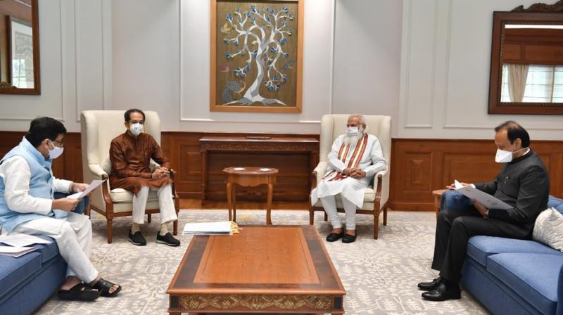 Maharashtra Chief Minister Uddhav Thackeray, Deputy Chief Minister Ajit Pawar and Congress leader Ashok Chavan met Prime Minister Narendra Modi on Tuesday.(Photo:Twitter@CMOMaharashtra)