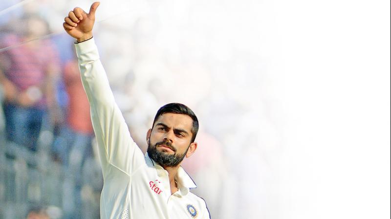 Captain Virat Kohli acknowledges the crowd after winning the fifth Test at the MA Chidambaram Stadium. (Photo: E.K. Sanjay)