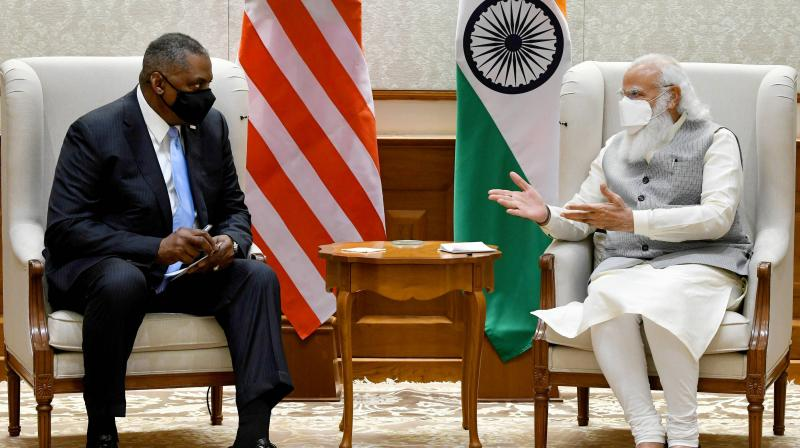 Prime Minister Narendra Modi meets US Defence Secretary Lloyd Austin, in New Delhi. (Photo: PTI)