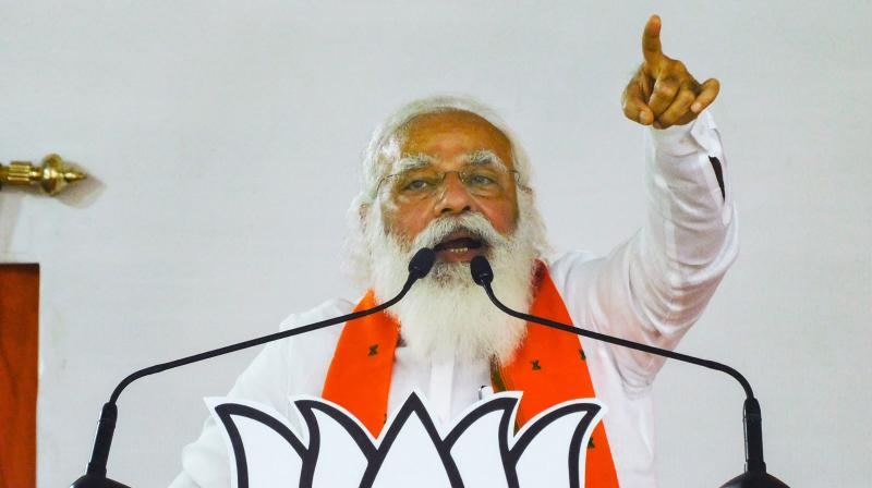 Modi's assertion came as Bollywood star Mithun Chakraborty, who joined the BJP recently, is likely to become a voter at the Cossipore-Belgachhia Assembly seat in north Kolkata. (Photo: PTI)