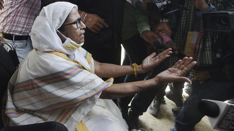 West Bengal Chief Minister Mamata Banerjee arrives at a polling station during the second phase of West Bengal Assembly Polls, at Boyal in Nandigram. (Photo: PTI)