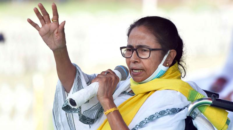 West Bengal Chief Minister Mamata Banerjee addresses a public meeting, in Cooch Behar district. (Photo: PTI)