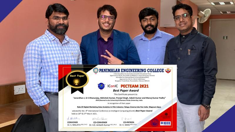 2021 Best paper award, has been awarded to Dr. Janardhan J, Dr. Abhishek Kumar, Mr. G.S. Dhanunjay, Mr. Pranjal Singh, Dr. Adesh Kumar Maurya and Professor Manoj K Padhy.