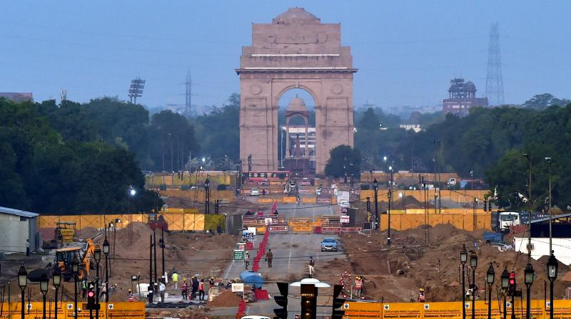 Construction work underway as part of the Central Vista Redevelopment Project, at Rajpath in New Delhi. (PTI file photo)