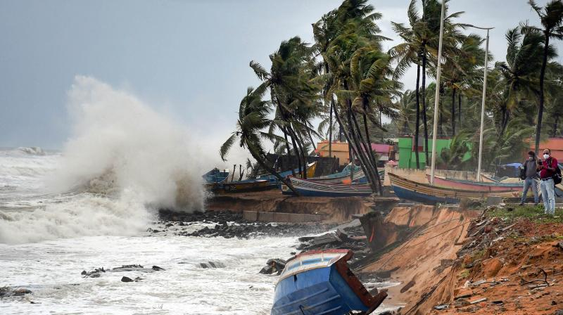 Rough sea weather conditions due to formation of Cyclone Tauktae in the Arabian Sea, in Thiruvananthapuram, Saturday, May 15, 2021. As per IMD, cyclonic storm 'Tauktae' is very likely to intensify further into a severe cyclonic storm by Saturday night. (PTI Photo)