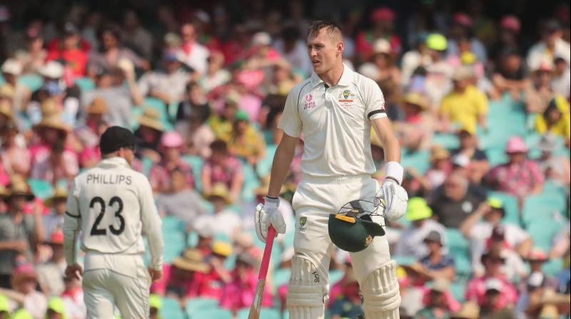 Marnus Labuschagne hit his sixth half-century in seven innings to guide Australia into a powerful position against virus-hit New Zealand on the opening day of the third Test in Sydney on Friday. (Photo:AFP)