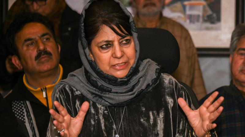 People's Democratic Party (PDP) president Mehbooba Mufti on Monday said, In the middle of a pandemic, the Government of India should focus on saving lives instead of firing government employees on flimsy grounds in Kashmir. —  PTI file photo