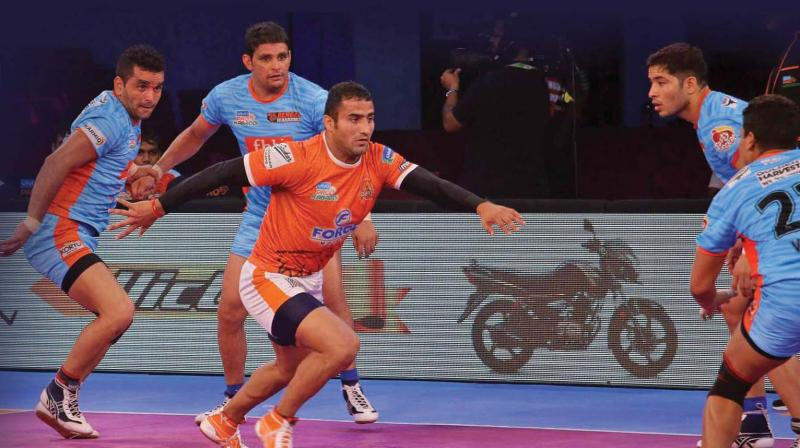 Sandeep Narwal in action during a ProKabaddi League match.