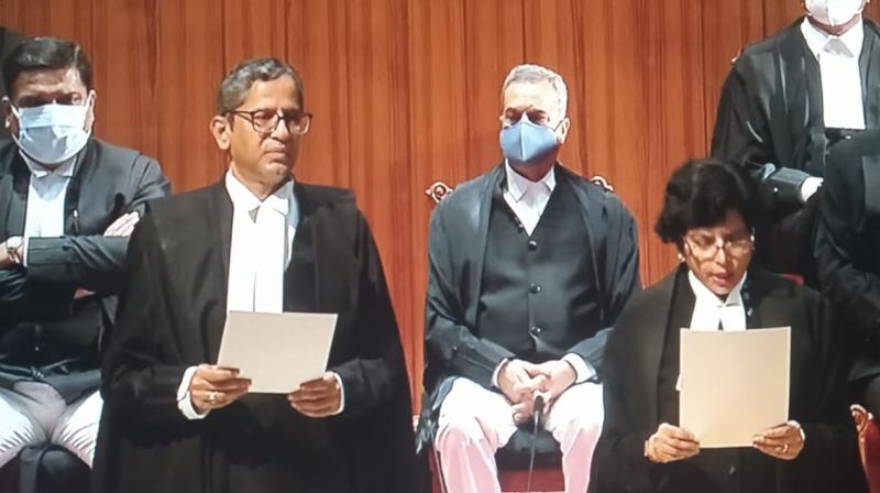 Chief Justice of India N V Ramana administered the oath of office to the new judges in a swearing-in ceremony held in the auditorium of the Supreme Court's additional building complex. (DC)