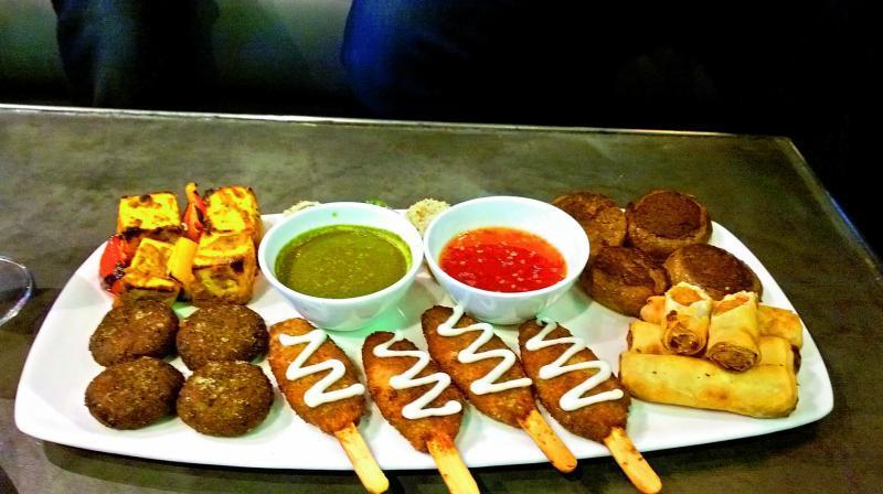 Have a vegan meal: A platter of vegan kababs, soya leg piece and vegetarian shawarma.